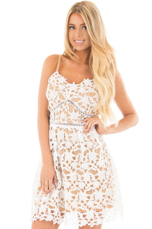 White Sleeveless Crochet Dress with Nude Lining front close up