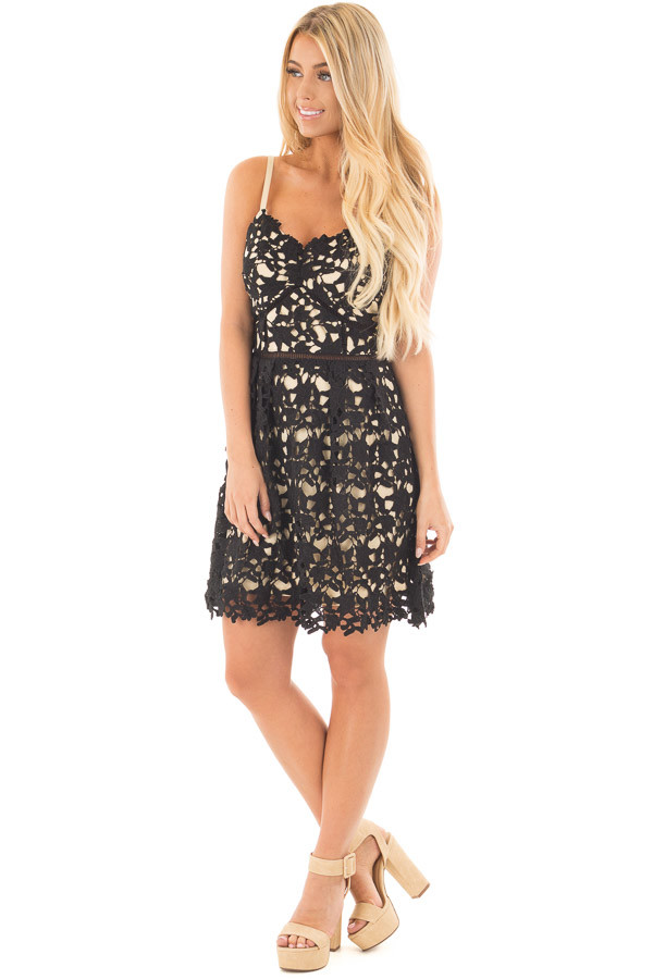 Black Sleeveless Crochet Dress with Nude Lining front full body