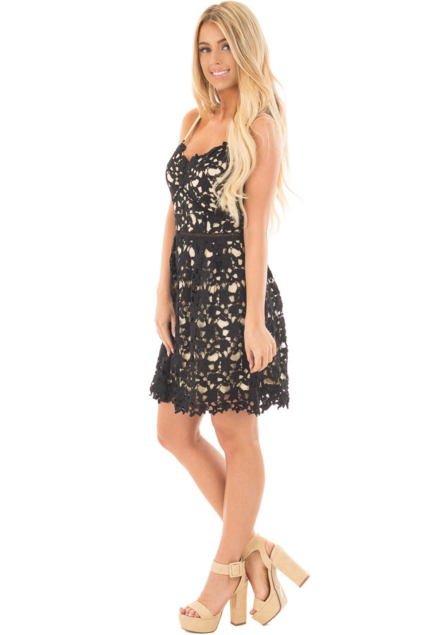Black Sleeveless Crochet Dress with Nude Lining side full body