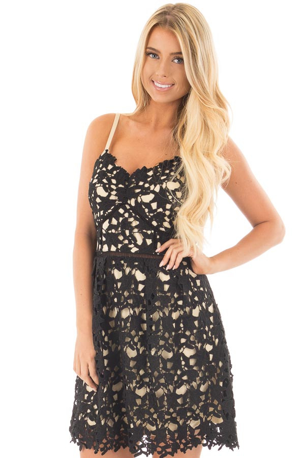 Black Sleeveless Crochet Dress with Nude Lining front close up