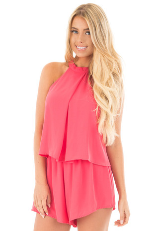 Fuchsia Halter Romper with Overlay and Open Back Detail front close up