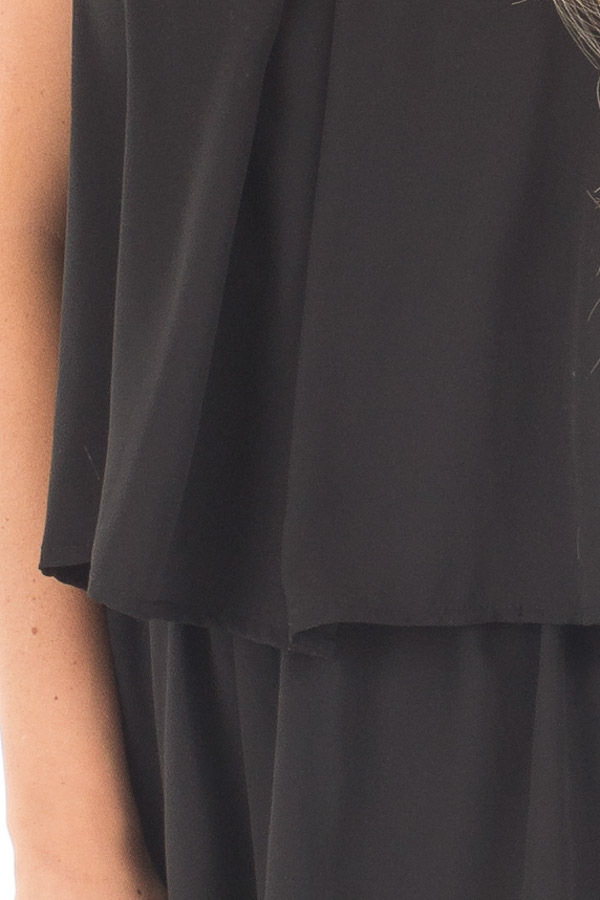 Black Halter Romper with Overlay and Open Back Detail detail