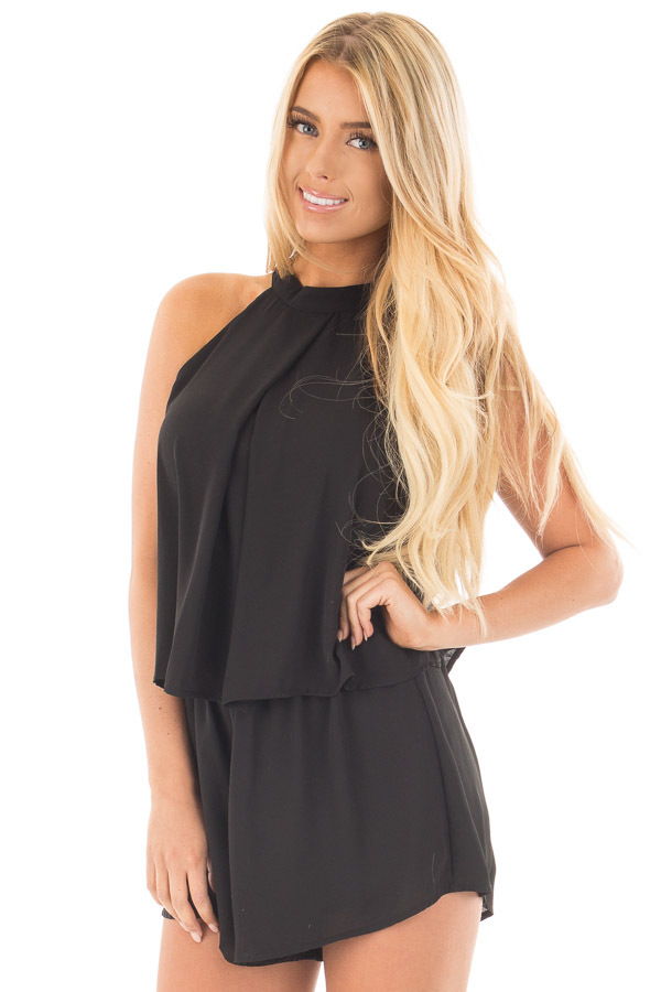 Black Halter Romper with Overlay and Open Back Detail front close up