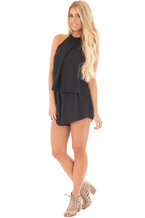 Black Halter Romper with Overlay and Open Back Detail front full body