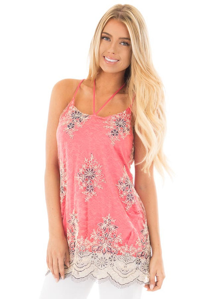 Coral Floral Double Layered Lace Tank Top front close up