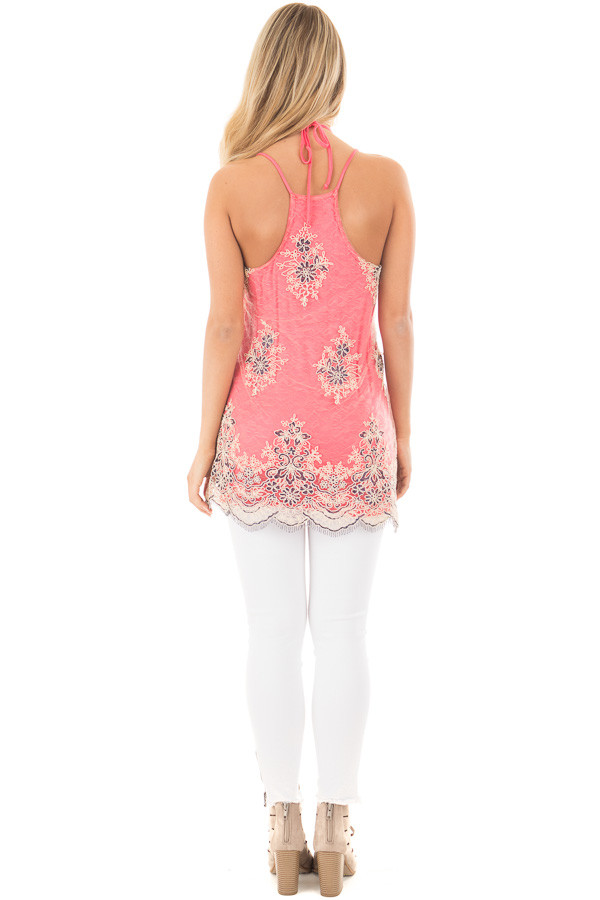 Coral Floral Double Layered Lace Tank Top back full body