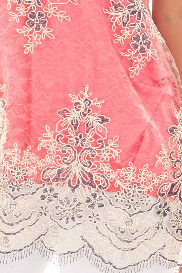 Coral Floral Double Layered Lace Tank Top detail
