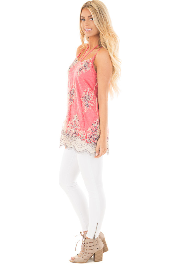 Coral Floral Double Layered Lace Tank Top side full body