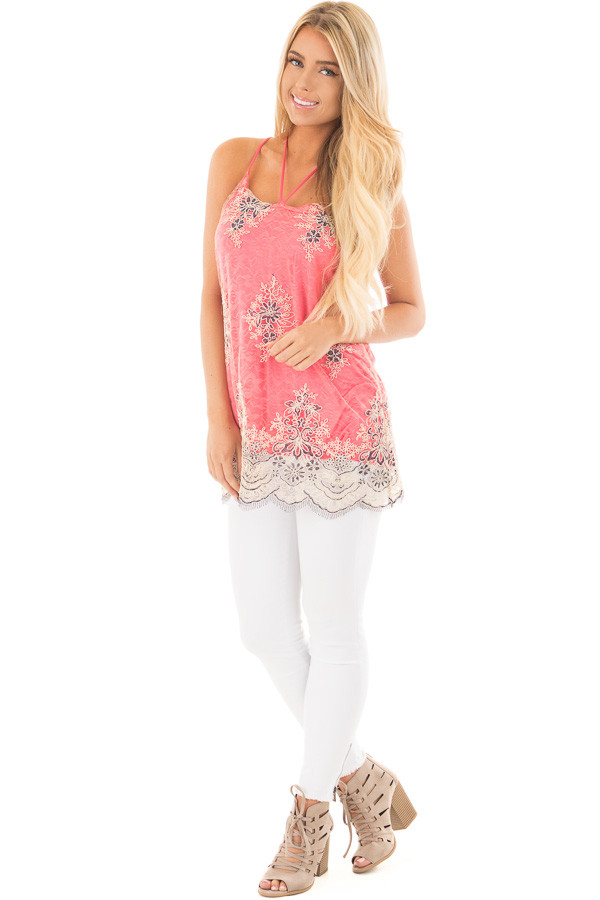 Coral Floral Double Layered Lace Tank Top front full body