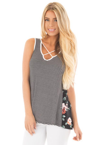 Black Striped Tank with Caged Neckline and Floral Back front close up