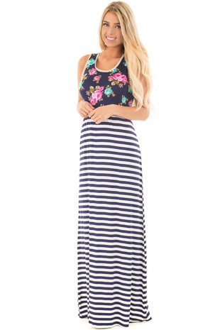 Navy Floral Maxi Dress with Striped Skirt and Crochet Detail front full body