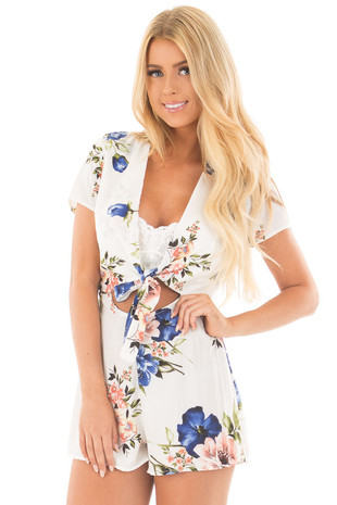 Ivory Floral Print Front Tie Romper with Keyhole Detail front close up