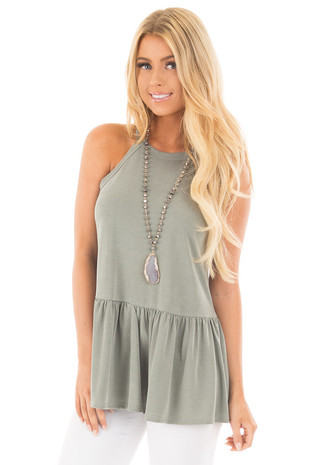 Dark Sage Peplum Halter Tank front close up