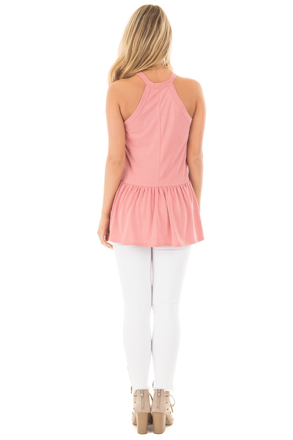 Dusty Pink Peplum Halter Tank back full body
