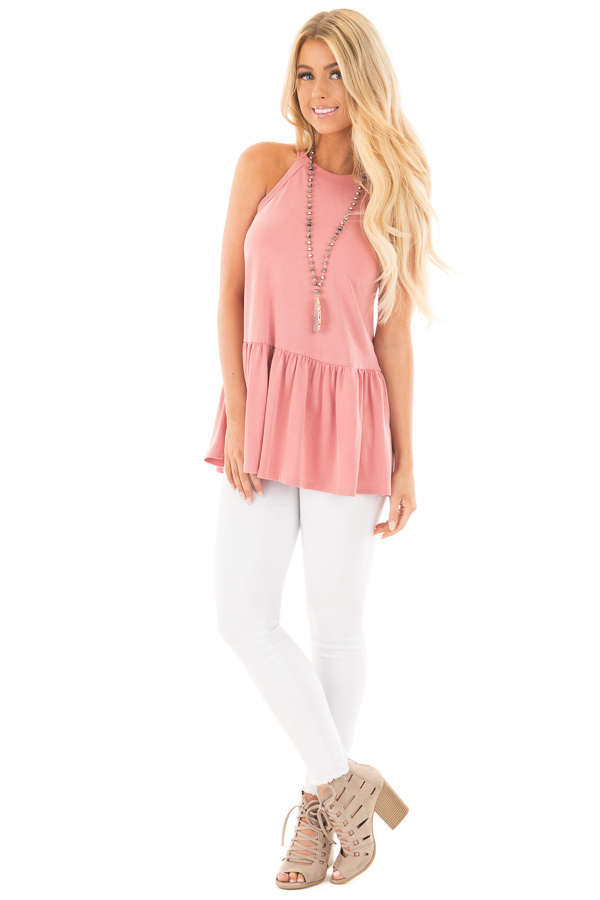 Dusty Pink Peplum Halter Tank front full body