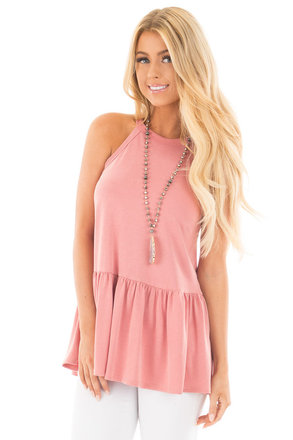 Dusty Pink Peplum Halter Tank front close up