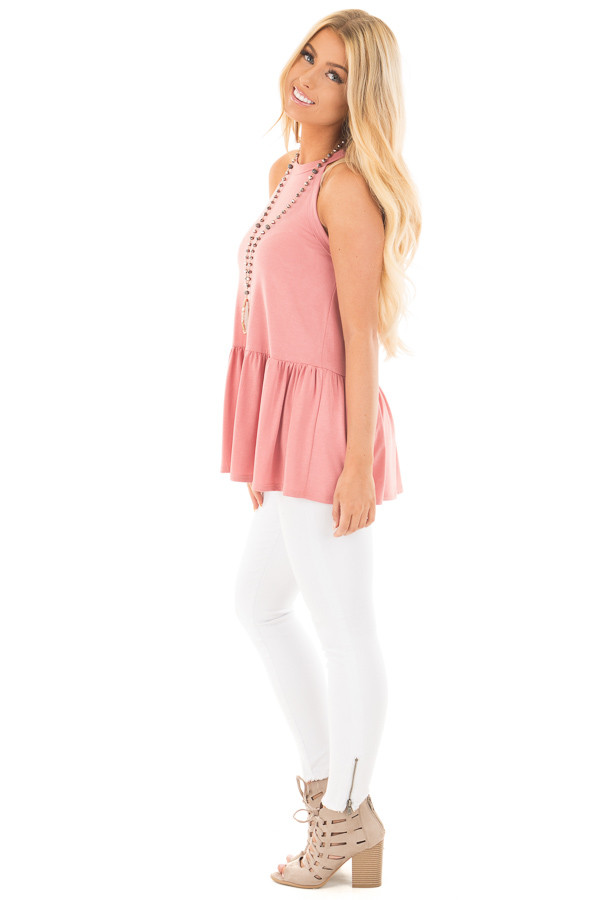 Dusty Pink Peplum Halter Tank side full body