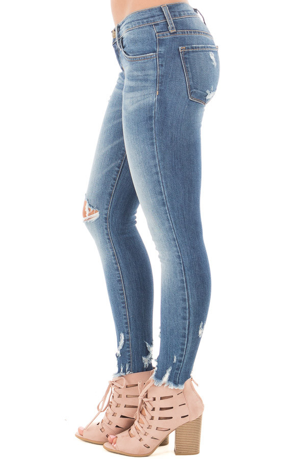 Medium Wash Cropped Skinny Jeans with Distressed Details side right leg