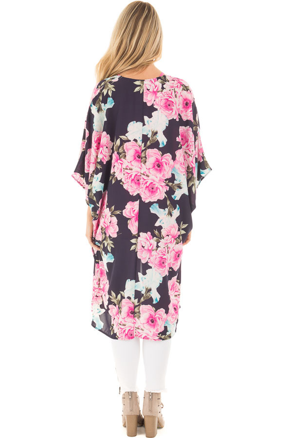 Navy Floral Print Long Kimono with Side Slits back full body