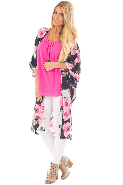 Navy Floral Print Long Kimono with Side Slits front close up