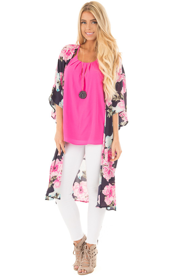 Navy Floral Print Long Kimono with Side Slits front full body