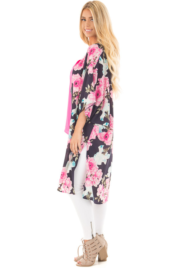 Navy Floral Print Long Kimono with Side Slits side full body