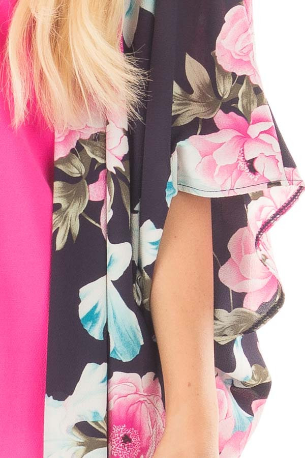 Navy Floral Print Long Kimono with Side Slits detail