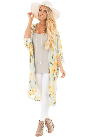 Sky Blue and Yellow Rose Floral Long Kimono with Side Slits front full body