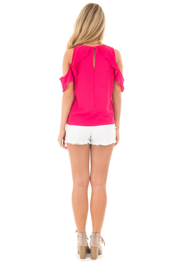 Berry Pink Cold Shoulder Blouse with Ruffle Sleeve Detail back full body