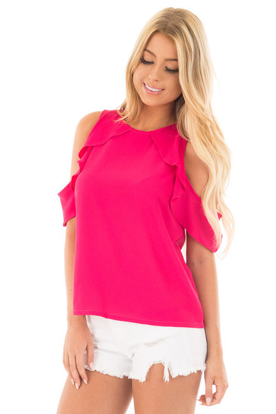 Berry Pink Cold Shoulder Blouse with Ruffle Sleeve Detail front close up