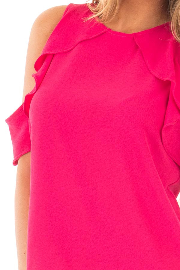 Berry Pink Cold Shoulder Blouse with Ruffle Sleeve Detail detail