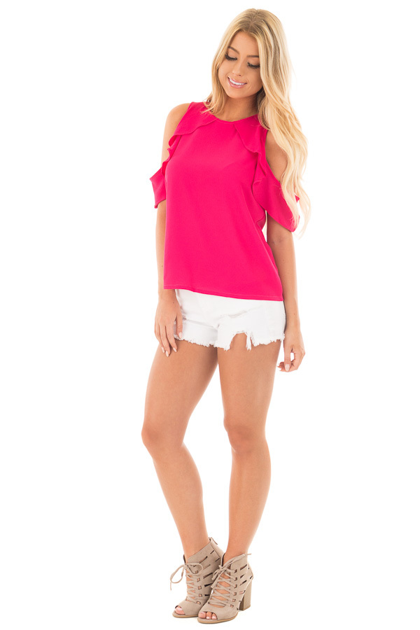 Berry Pink Cold Shoulder Blouse with Ruffle Sleeve Detail front full body