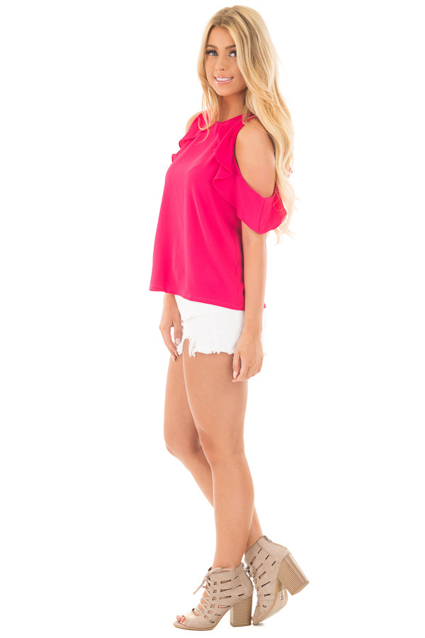 Berry Pink Cold Shoulder Blouse with Ruffle Sleeve Detail side full body