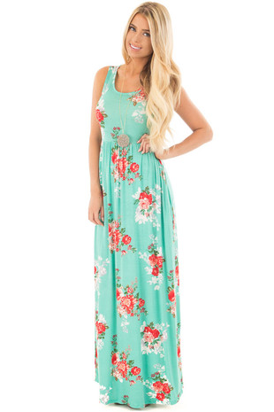 Mint and Burnt Red Floral Print Maxi Dress with Side Pockets front full body