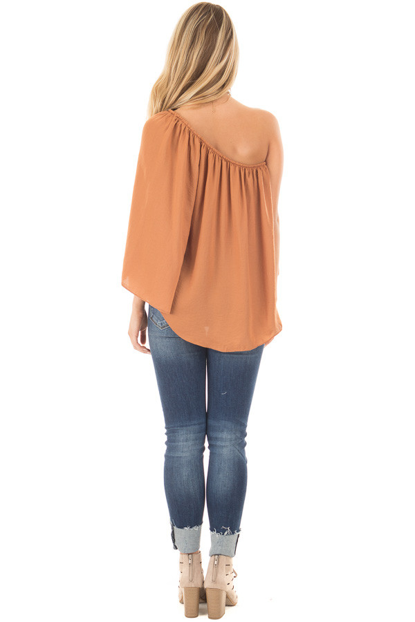 Bronze One Shoulder Flowy Blouse back full body
