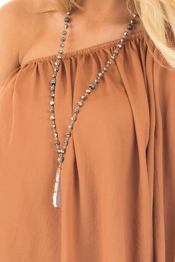 Bronze One Shoulder Flowy Blouse detail