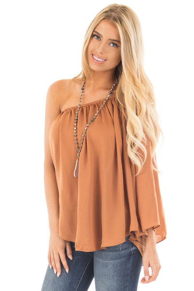 Bronze One Shoulder Flowy Blouse front close up