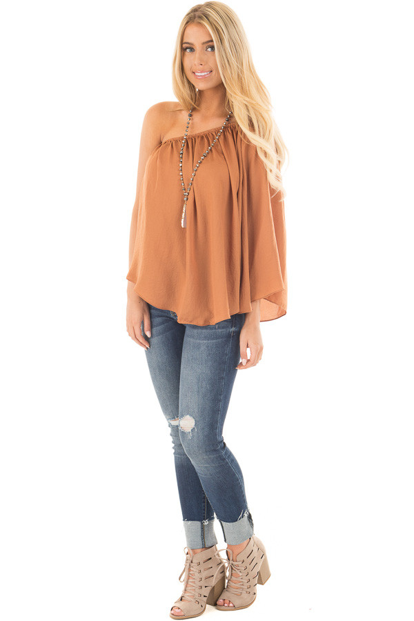Bronze One Shoulder Flowy Blouse front full body