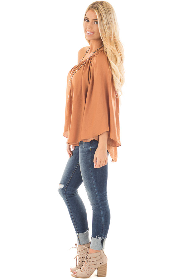 Bronze One Shoulder Flowy Blouse side full body