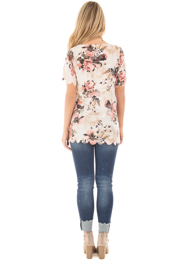 Cream and Blush Floral Print Blouse with Scalloped Hem back full body