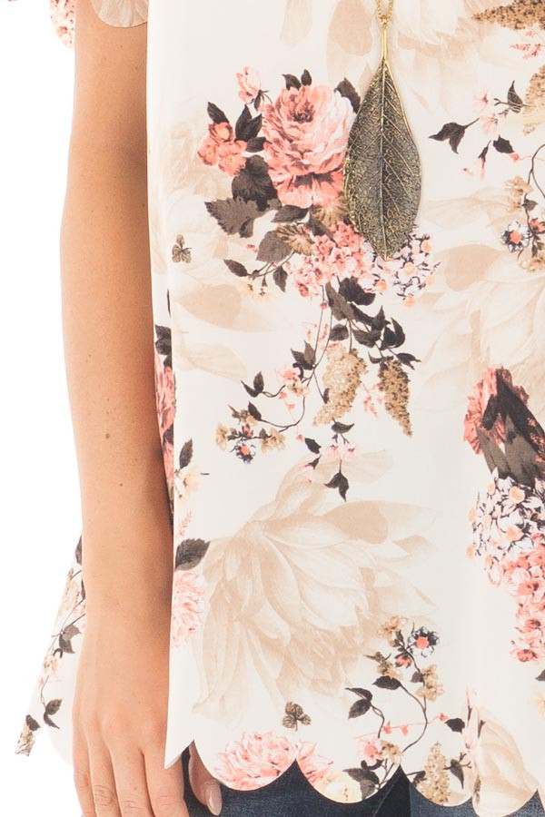 Cream and Blush Floral Print Blouse with Scalloped Hem detail