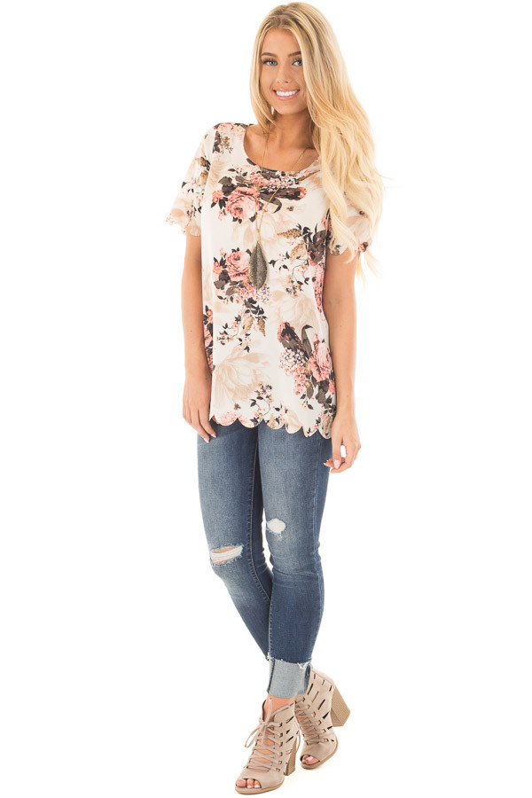 Cream and Blush Floral Print Blouse with Scalloped Hem front full body