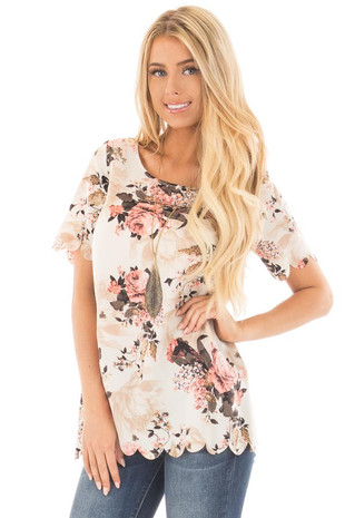 Cream and Blush Floral Print Blouse with Scalloped Hem front close up