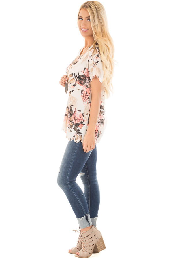 Cream and Blush Floral Print Blouse with Scalloped Hem side full body