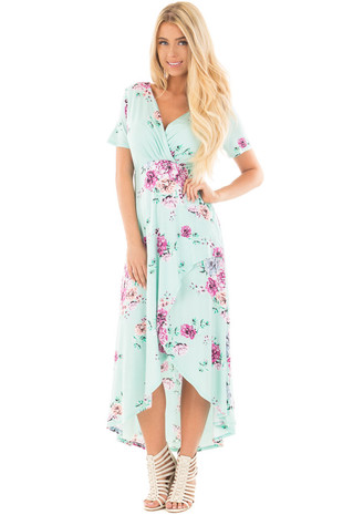 Mint Floral Print Surplice Hi Low Maxi Dress front full body