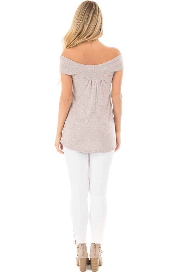 Blush Taupe Knit Off Shoulder Top with Overlap Detail back full body