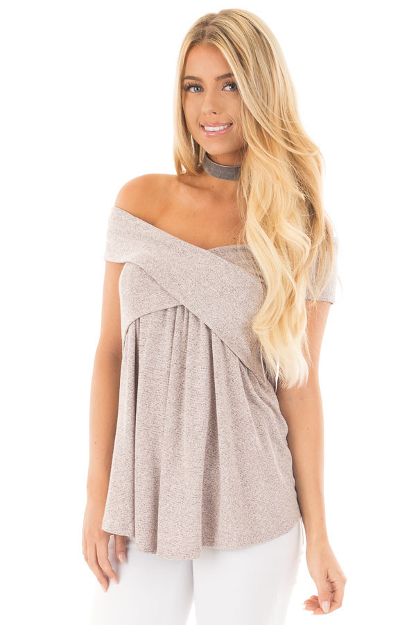 Blush Taupe Knit Off Shoulder Top with Overlap Detail front close up