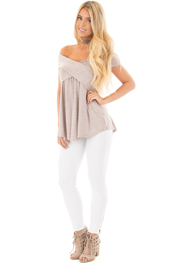 Blush Taupe Knit Off Shoulder Top with Overlap Detail front full body
