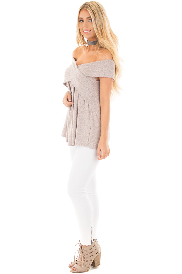Blush Taupe Knit Off Shoulder Top with Overlap Detail side full body