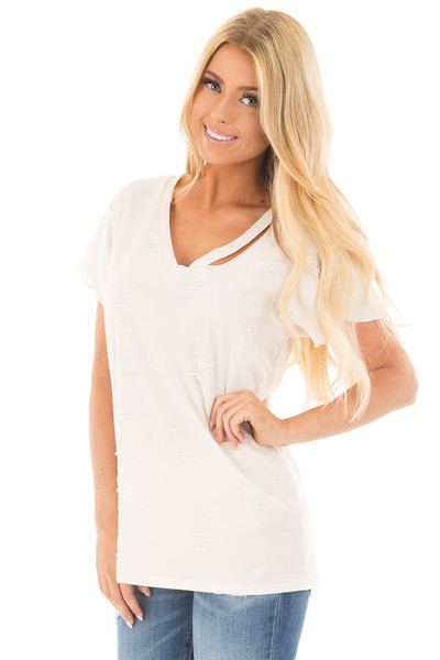 Cream Distressed V Neck Tee with Cut Out Detail front close up